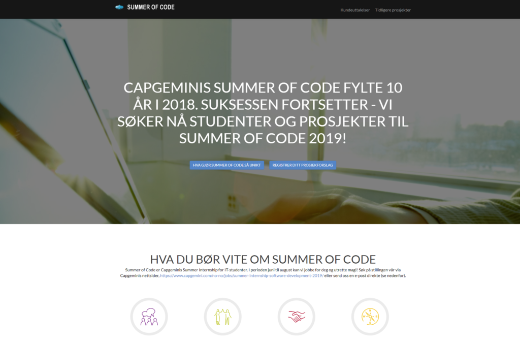 Skjermdump fra Summer of Code
